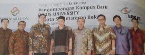 Penandatanganan Kerja Sama Binus University dan Summarecon Bekasi (sumber: capture dari Majalah Wonderful Life)
