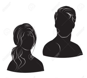 22285105-face-man-and-woman-on-white-background-Stock-Vector-man-silhouette-hair