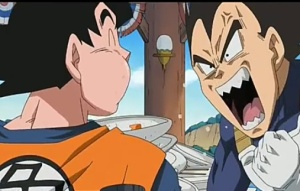 Goku dan bejita rebutan makanan