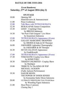 Jadwal acara hari pertama berdasar twitter @jaktoysfair (klik untuk perbesar gambar)
