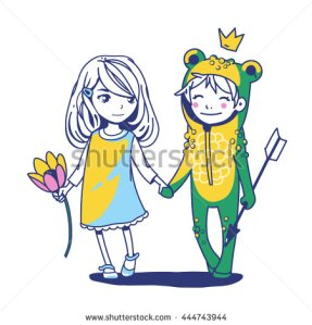 stock-vector-frog-prince-fairy-tale-magic-vector-hand-drawn-sketch-couple-holding-hands-walking-away-444743944