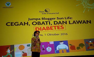 Direktur Penyakit Tidak Menular Kemenkes Lili Sulistiyowati memaparkan pentingnya tahu diabetes