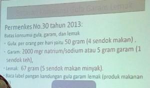 Batas Konsumsi Gula. Garam dan Lemak