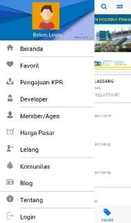 Menu dalam Aplikasi Mobile BTN Properti